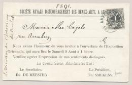 België - 1891 - 1 Cent Liggende Leeuw Op Lokaal Drukwerk Anvers - Uitnodiging Exposition Triennale - 1869-1888 Lion Couché (Liegender Löwe)