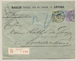 België - 1889 - 20 + 25 Cent Leopold II Op R-commercial Cover Van Anvers Naar Amsterdam / Nederland - 1884-1891 Léopold II