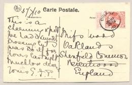 België - 1910 - 10 Cent Leopold II Grove Baard Op Ansicht (Citadel) Dinant Naar UK - 1905 Grove Baard