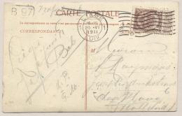 België - 1911 - 2 Cent Rijkswapen Op Ansicht Van Luik Naar Den Haag / Nederland - 1893-1907 Coat Of Arms