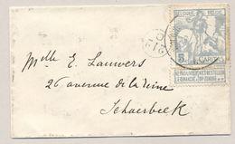 België - 5 Cent Caritas Op Briefje Naar Schaerbeek - Let Op: Strookje Los - 1910-1911 Caritas