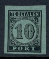 Nederland - 1870 - 10 Cent Portzegel Proef/Proof/Epreuve 4u - Zwart Op Groen - Strafportzegels
