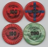 Lot De 4 Jetons De Casino : Casino De Mar Menor 100-100-100-200 - Casino