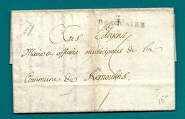 Gard - Beaucaire Pour Les Officiers Municipaux De Remoulins. LAC De L'An III De La République. Gendarmerie/Guerre - Marcophilie (Lettres)