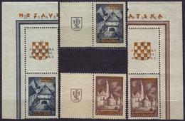 1941 Croatia Yugoslavia NDH - Gold Overprint - MNH / Zagreb Stamp Exhibition - Mi. 39-40 + LABEL VIGNETTE - Croatia