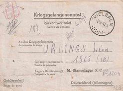 "WO 2 KRIEGSGEFANGENENPOST ""VIELSALM  2.8.43""  + ""34/ STALAG X C / Geprüft"" ( X C = NIENBURG) - WW II"