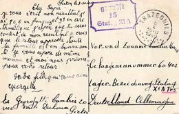 """WO 2 KRIEGSGEFANGENENPOST """"TRAZEGNIES 5.X.1940""""  Naar  """"geprüft / 15 / STALAG XI A """" ( XI A = ALTENGRABOW) - Guerre 40-45"""