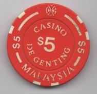Jeton De Casino : Casino De Genting $5 Malaysia : Malaisie - Casino