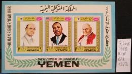 X13 - Yemen Kingdom 1968 Mi. Block 120B MNH S/S - Human Rights Year - Pope - Luther King - Yemen
