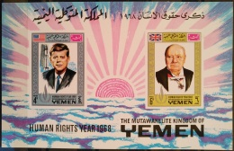 X13 - Yemen Kingdom 1968 Mi. Block 119 MNH S/S - Human Rights Year - Kennedy - Churchill - Yemen