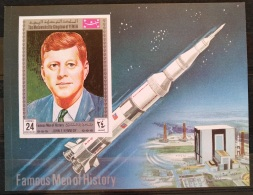 X13 - Yemen Kingdom 1969 Mi. Block 172B MNH S/S - Famous Men Of History - Kennedy, Space Missile - Yemen