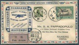 1931 China Peiping / Peking - Nanking Airmail C.N.A.C. First Flight Cover - China