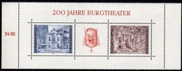 ÖSTERREICH 1976 ** 200 Jahre Burgtheater Wien - Block MNH - Musik