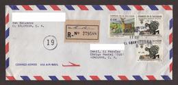 El Salvador, Cover Sent From San Salvador-Danli With Stamps Of Fauna, Centennial Military Hospital, 1995 - El Salvador