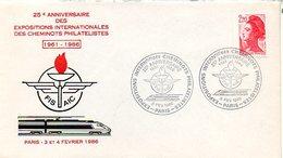 H640  Cachet Expo Intern Cheminots Philateliques Paris 1986  Thème Chemin De Fer - Postmark Collection (Covers)
