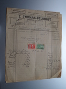 E. THOMAS-DELAHAYE Frasnes-Lez-Couvin ( Automobiles-Bicyclettes ) ( Double Facture / Tax ) 1928 ! - Automovilismo