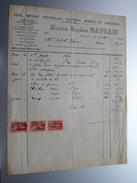 Maison Eugène BAURAIN Couvin ( Fers, Métaux, Poutelles ......) ( Facture / Tax ) 1929 > Frasnes ! - Belgium