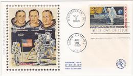 1969 WASHINGTON / FDC / FIRST MAN ON THE MOON / USA / APOLLO XI / 10c - Ersttagsbelege (FDC)