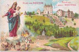 ALTE Litho- AK  HOSTEIN - HOSTYN / Mähren - Wallfahrtsort -  1944 Gelaufen - Böhmen Und Mähren