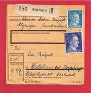 Colis Postal  --  Départ Algringen - Alsace-Lorraine