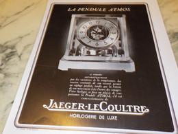 ANCIENNE PUBLICITE PENDULE ATMOS JAEGER-LECOULTRE 1938 - Autres