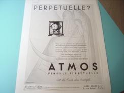 ANCIENNE PUBLICITE PENDULE ATMOS JAEGER-LECOULTRE 1933 - Autres