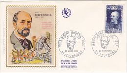 1969 TOURCOING  / FDC / 1869 - ALBERT ROUSSEL - 1937 / Timbre 0.50 + 0.10 - 1960-1969
