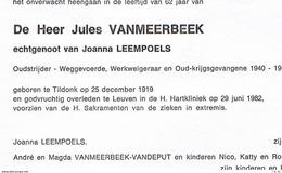Doodsbrief Vanmeerbeek Jules (x Joanna Leempoels) , Tildonk 1919 - Leuven 1982 , Schoenmaker , Kruidenier , Oudstrijder - Religione & Esoterismo