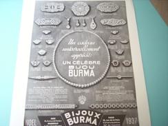 ANCIENNE PUBLICITE BIJOU BURMA NOEL 1937 - Autres