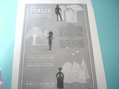 ANCIENNE PUBLICITE VOYAGE VACANCE L ITALIE 1937 - Advertising
