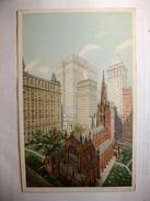 Carte Postale Etats Unis Trinity Church And Office Buildings,New York  (Petit Format Couleur Circulée 1919 ) - Églises