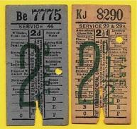 """Ticket BUS (Lot De 2) London General Omnibus """"DOCTOR'S CHINA TEA"""" Advertising - Pub Publicité - Bus"""