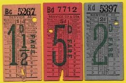 """Ticket BUS (Lot De 3) London General Omnibus """"MANN CROSSMAN'S"""" Advertising - Pub Publicité - Bus"""
