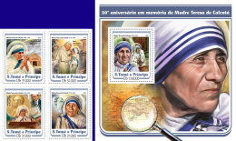 SAO TOME 2017 ** Mother Teresa 4v+S/S - IMPERFORATED - DH1722 - Mother Teresa
