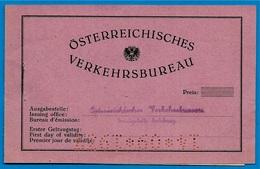 Ticket Carnet Voyage Train OSTERREICHISCHES VERKEHRSBUREAU Autriche Salzburg Zoll Italie - Chemins De Fer