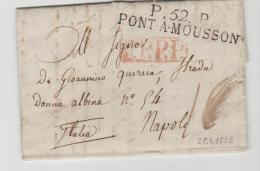 FP188 / FRANKREICH -  P.52.P, PONT A MOUSSON Nach Neapel 1815 (mit Textinhalt) - Marcophilie (Lettres)
