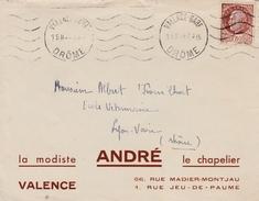 Valence-gare Drôme 1942 - Flamme à Vagues Sur Pétain - Chapelier André - Postmark Collection (Covers)