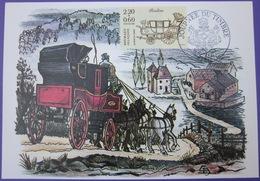 Carte Postale Maximum - FDC - Journée Du Timbre - 1987 - YT 2468 - Chevaux - Berline - Cartes-Maximum