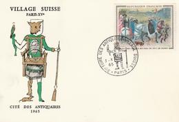 Paris 1965 -  Salon Antiquités Village Suisse - Cachets Commémoratifs
