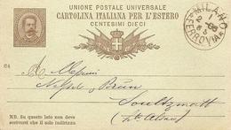 Entier Postal 1886 Milan (gare) à Soultzmatt (France) UPU. - 1878-00 Humbert I
