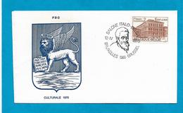 1975 BELGIO BELGIQUE BELGIE BUSTA PRIMO GIORNO FDC ANNULLO MICHELANGELO SALONE ITALO BELGA BRUXELLES BRUSSEL - FDC
