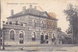 Wuestwezel - Hotel De Vrije Burger (animatie, Photo K. Vervoort, Halt Van Den Tram 1920...vlek - Wuustwezel