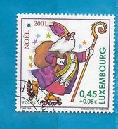 2001 LUSSEMBURGO LUXEMBOURG FRANCOBOLLO USATO STAMP USED - NATALE 0,45 + 0,05 - Usati