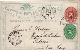 CTN49/6 - MEXIQUE EP CP CATORCE SAN LUIS DE POTOSI / TRIPOLI DI BARBARIA JUILLET 1893 VIA VERA CRUZ / N.YORK - Mexique