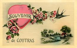 Dép 33 - Fleurs - Roses - Coeur - Hirondelles - Souvenir De Coutras - état - France