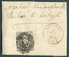N°6 Médaillon 10 Centimes, Obl. P.102 Sur Lettre De ROULERS  2 Novembre 1853  Vers Courtrai Médecin Doctor VandePlancke - 1851-1857 Medallones (6/8)