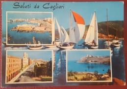 SALUTI DA CAGLIARI - VEDUTINE - BARCHE - Viaggiata 1970 - Cagliari