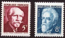 France - YT 820 & 821- Paul Langevin & Jean Perrin (1949) NEUF AVEC TRACE DE CHARNIERE - France