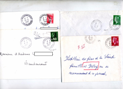 Lot 4 Lettre Cachet Baudoncourt - Cachets Manuels
