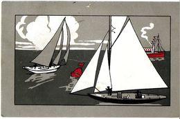 ILLUSTRATEUR  ?? SPORT NAUTIQUE VOILIER  COURSE THE ELLANBEE SPORTING  N° 138 ECRITE CIRCULEE 1905 - Illustrators & Photographers